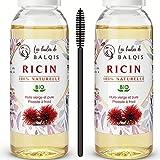 2x50 ml Huile de Ricin bio vierge 100% pure naturelle pressée à froid nourrit purifie la peau stimule, renforce la pousse de la barbe cheveux cils sourcils ongles riche en oméga 9 vitamine E