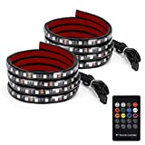 YITAMOTOR 2x 60 inches RGB LED Truck Bed Lights Strip 12v with Sound-Activated Function, Wireless Remote, IP67 Waterproof, on off Switch for Pickup RV, SUV, Boats