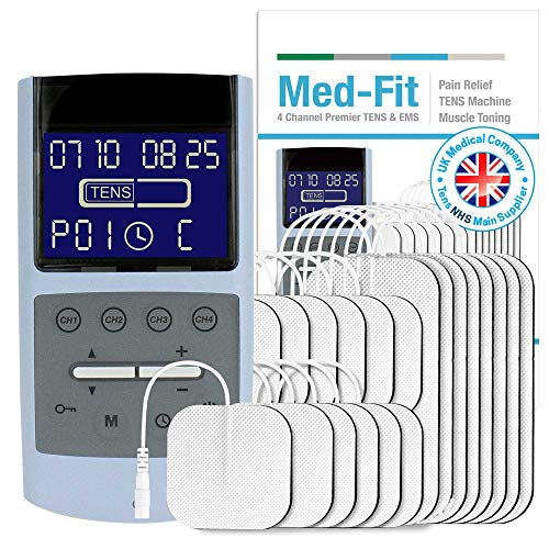 Med-Fit Rechargeable Four-Channel TENS Machine and Muscle Stimulator with 30 preset clinically validated programmes for Pain Relief and Muscle Stimulation. Use up to 8 electrodes simultaneously.