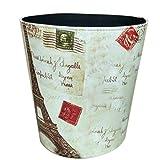 WOLFBUSH Waste Bins, European Style Retro PU Leather Wastebasket Paper Basket Trash Can Dustbin Garbage Bin without Lid - Retro Tower Pattern