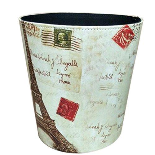 XSHION Retro Wastebasket, PU Leather Decorative Trash Bin Dust Din for Kitchen Waste Basket for Bathroom Without Lid 4 Gallon