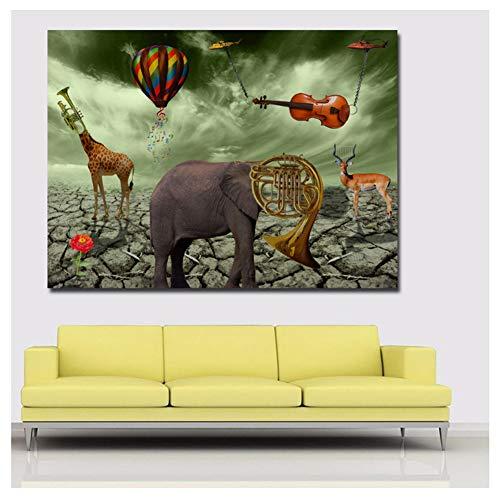 hutianyu Salvador Dali Elefant Hirsch Trompete Gemälde Leinwand Wandkunst Druck Poster Bilder Wohnzimmer Dekor -80x100cm Kein Rahmen