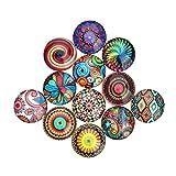 SUPVOX Mosaico de color mezclado Cristal semicircular/Dome Cabochons Fabricación de joyas (25MM patrón aleatorio) 12 piezas