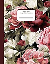 GRAPH PAPER COMPOSITION NOTEBOOK: Rustic Red Peonies Floral Pattern – Graph Paper Quad Ruled 5 squares per inch 5x5 - Grid Paper Notebook for Math & ... Diary (School supplies graph paper notebook)