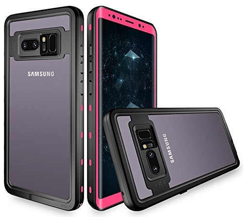 Galaxy Note 8 Waterproof Case,Underwater IP68 Certified Waterproof Dustproof Snowproof Shockproof Full-Body Protective with Transparent Back Cover Case for Samsung Galaxy Note 8 (Pink)