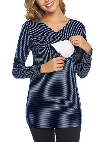Aibrou Allaitement Manches Longues Court Femmes Vêtements de Maternité Haut Grossesse Haut de Allaitement T-Shirt de Superposition