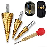 <span class='highlight'><span class='highlight'>Oziral</span></span> Spiral Grooved Step Drill Bit Set, 3Pcs High Speed Steel Titanium Coated Spiral Grooved Step Drill Bit Hole Cutter Power Tools for Wood, Metal, Stainless Steel,with Center Punch with Rubber Cap