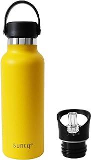 SUNTQ スポーツボトル 水筒 直飲み 保温 保冷 ウォーターボトル アウトドア 登山 ジョギング用 おしゃれ イエロー 500ml