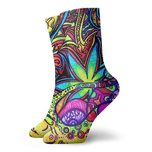 Wheatleya Adolescentes Poliéster Psicodélico Multicolor Marihuana Leaf Weed Art Calcetines atléticos Botas Zapatillas de deporte Calcetines Calcetines elásticos suaves y cómodos para regalos