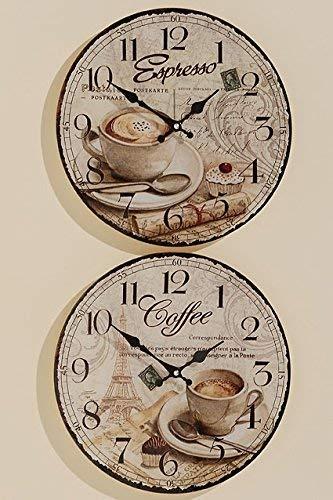 Tamia-Home Uhr Wanduhr Coffee Küchenuhr D34cm Glasuhr Wanddekoration Bilderuhr Glasbilder lautlos Uhrwerk ohne Ticken (Coffee)