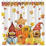 Funnytree Fall Pumkins Gnomes Shower Curtain Autumn Maple Leaves Sunflowers Harvest Farmhouse Home Bathtubs Bathroom Curtain Decoration Set 12 Hooks Washable Durable Polyester Fabric 72'x72'