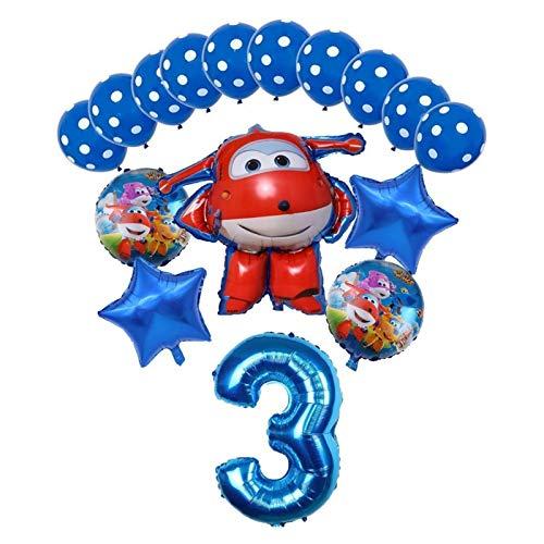 Djujiabh Globos 16pcs Super Wings Balloon Jett Globloons Super Wings Toys Fiesta de cumpleaños 32 Pulgadas Número Decoraciones Niños Juguete Globos (Color : Blue3)