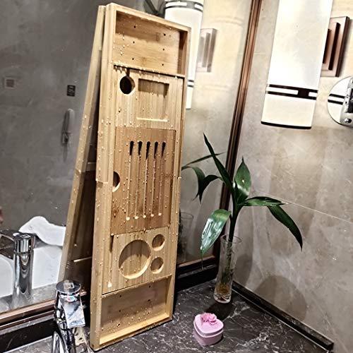 Shelf Plateau De Rangement Extensible en Bambou pour Baignoire avec Tablette pour Téléphone Portable Et Porte-Livre Length Longueur Réglable De 74,5 à 95 Cm