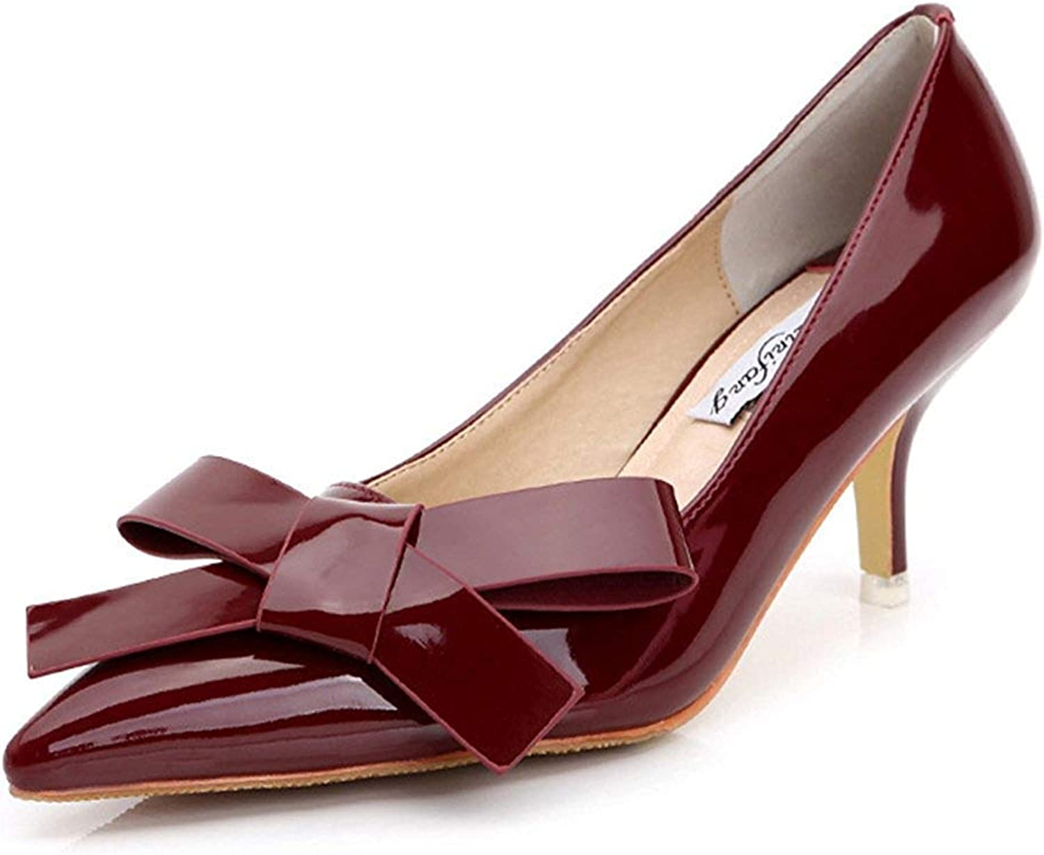Unm Women's New Patent Leather Low Cut Pointed Toe Dress Slip On Pumps Bridal Party Stiletto Kitten Heels shoes with Bows