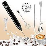 iMustech Machine électrique en mousse à main rechargeable par USB avec 2 fouets, cuillère et pochoirs pour cappuccino, lait, café, chocolats chauds, 1,5 W, noir
