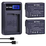 Batmax 2Pcs DMW-BLC12 DMW-BLC12E BLC12 Battery + USB LCD Charger for Panasonic DMW-BLC12 Battery Lumix DMC-FZ200 FZ300 FZ1000 FZ2500 G5 G6 G7 GX8 G85 Cameras