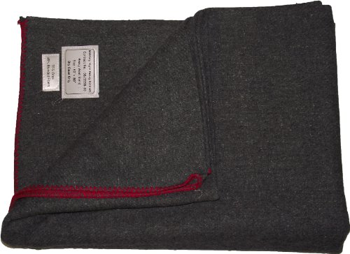 New Military Style Heavy Wool Blanket (Grey With Red Trim)