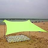 Jidan Protector Solar Toldo Capota Exterior Sun Sail Shade Impermeable Refugio de la sombrilla Lona Toldo Toldo Acampada de la Playa Cubierta Tienda de campaña, Ligero Plegable (Color : Green)