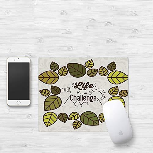 Mauspad mit genähten Kanten,Zitat, das Leben ist eine Herausforderung Zitat mit Blätter Rising Sun hinter,rutschfeste Gummi-Basis-Mousepad, Gaming und Office mauspad für Laptop, Computer & PC320x250mm