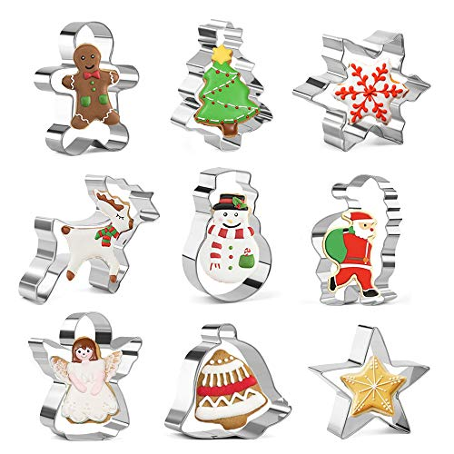 Olywee Set di formine per biscotti natalizi - 9 pezzi fiocco di neve, omino di pan di zenzero, albero di Natale, formina per biscotti in acciaio inossidabile con pupazzo di neve per biscotti, fondente