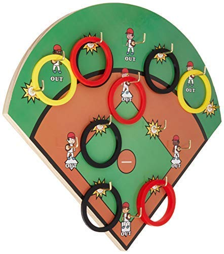 FIREBUBBLES Hook and Ring Toss Baseball Game - Baseball Children's Game, Baseball Gifts for Boys, Family Game or a Sports Gift for The Man Cave, Garage Game, Sports Game Baseball Gift for Men