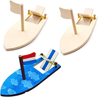 Drawing Wooden Sailboats Home DIY Education Toy Creative Painted White Models Children's Coloring Handmade DIY Boats Toy(3pack)