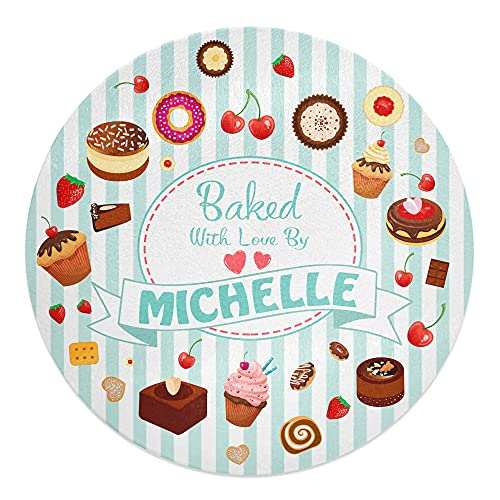 30cm Round Personalised Any Name Baked with Love Novelty Tempered Glass Chopping Board