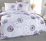 Kuscheli® Bettwäsche 135x200 4 teilig | ÖkoTex Zertifiziert & für Allergiker geeignet |Bettwäsche Set mit je 2 Bettbezügen 135 x 200 & Kissenbezügen 80x80 | modern Pusteblume