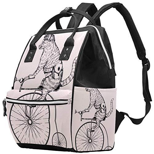 Steampunk-Katze auf Retro-Fahrrad Windel Wickeltasche Windelrucksack mit isolierten Taschen Kinderwagengurte, große Kapazität Multifunktionale stilvolle Wickeltasche für Mama Papa im Freien