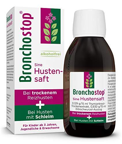 Bronchostop Sine Hustensaft | Erkältungsmittel bei trockenem Reizhusten & Husten mit Schleim | Wirkt reizlindernd & schleimlösend | 200 ml
