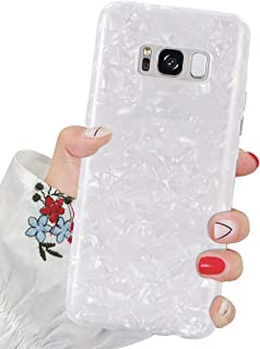 J.west Galaxy S8 Case, S8 Case Luxury Sparkle Glitter Pearly-Lustre Pattern Slim Flexible Clear Shockproof TPU Soft Rubber Silicone Cover Protective Phone Case for Samsung Galaxy S8 (White)