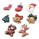 Cabilock 8Pcs Conjunto de Imanes de Nevera de Navidad Pegatinas de Resina para Nevera Santa Bell Bear Imanes de Espalda Plana Decoración de Pizarra de Navidad (Estilo Aleatorio)