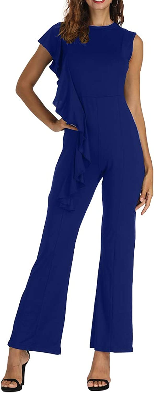 Zaoqee Women's Asymmetric Ruffle Trim Sleeveless Jumpsuits Casual Keyhole Back Long Pants Romper