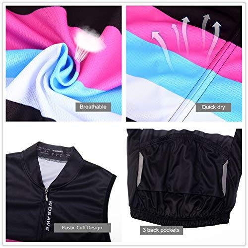 WOSAWE Damen Fahrradweste Atmungsaktive und Winddichte Bekleidung Triathlon Vest Sommer Ärmelloses Frauen Die Jersey (Color Shine S) - 6
