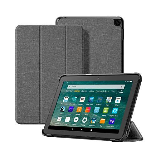 OLAIKE Custodia in tessuto per Tutto nuovo tablet Kindle Fire HD 8 8 Plus(10a Generazione, 2020), Copertura del supporto a tre ante con Auto Sleep Wake (Solo per 2020 Fire HD 8 8 Plus), Grigio