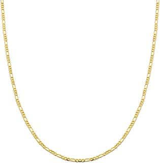 10K Yellow Gold 2mm Solid Figaro Chain Necklace, Available in 16 to 24 inches