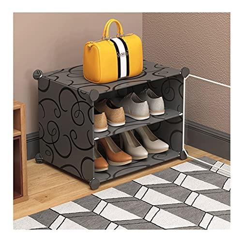 Sencillez Estante de almacenamiento de zapatos portátil, puerta transparente, estante de gabinete de ahorro de espacio, estante de plástico, zapatos, botas, zapatillas de 2 niveles, 4 pares pasillo