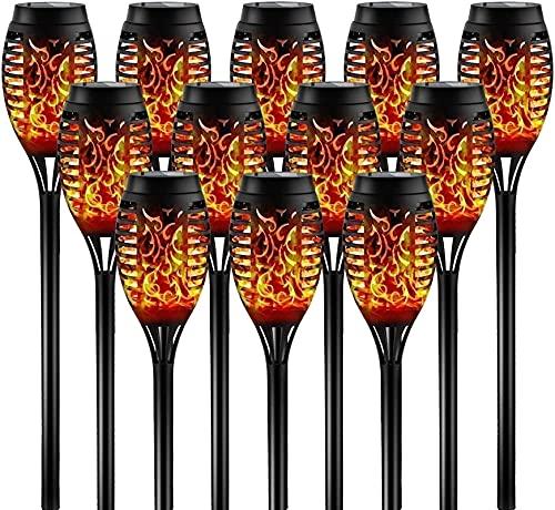 SKYWPOJU Paquete de 4/8/12 antorcha Solar de Llama Parpadeante con energía Solar, 12 Luces LED de Llama, antorchas Tiki, Luces Decorativas para jardín al Aire Libre (Size : 12 pcs)