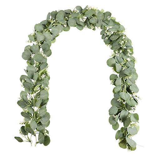 Aonewoe 2Pack Artificial Eucalyptus Vine with Baby's Breath Flowers 6.2FT Fake Silk Eucalyptus Leaves Greenery Garland Hanging Plants Vine for Wedding Backdrop Arch Party Table Wall Decoration
