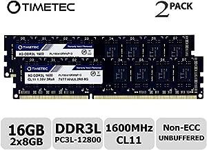 Timetec Hynix IC 16GB Kit (2x8GB) DDR3L 1600MHz PC3L-12800 Non ECC Unbuffered 1.35V/1.5V CL11 2Rx8 Dual Rank 240 Pin UDIMM Desktop Memory Ram Module Upgrade (16GB Kit (2x8GB))