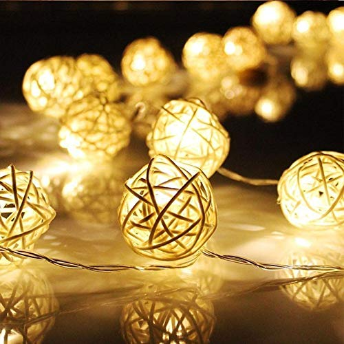 Globe String Lights Battery Operated 8Ft 20LED Globe Rattan Fairy Light for Indoor,Bedroom,Curtain,Patio,Lawn,Landscape,Wedding,Holiday,Christmas Tree,Party(Warm White)