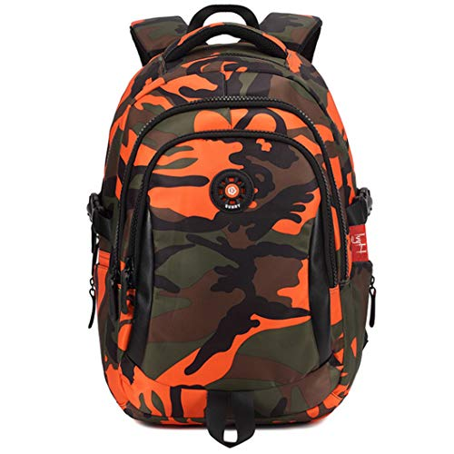Kinderrucksack Junge von IvyH, Teenager Tarnen Schultasche, Grundschultasche Kinderrucksack - Orange Camo