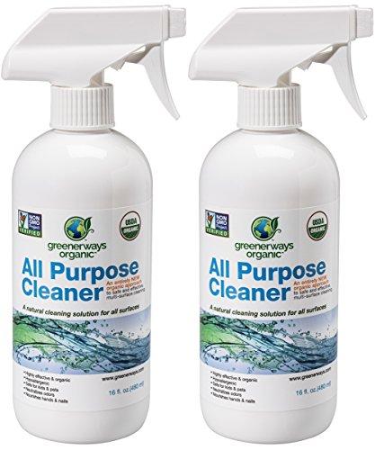 Greenerways Organic All-Purpose Cleaner, Natural USDA Organic Non-GMO, Best Household Multi Surface Spray Cleaner for Home, Natural House Cleaner, Safe House Cleaner - 2 Pack (2) 16oz