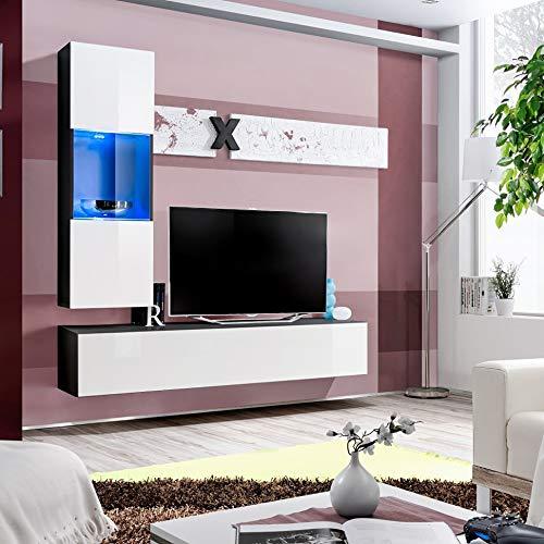 ASM Air H3 - Mueble de pared (160 cm de ancho), color blanco y negro
