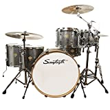 Sawtooth Command Series 6-Piece Shell Pack with 24' Bass Drum, Silver Sparkle, (ST-COM-6PC-24-SSPK)