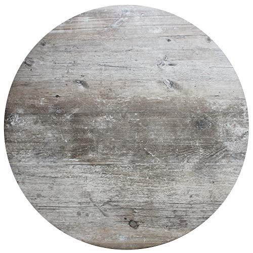 Werzalit Tischplatte Dekor Findus grau 80 cm rund wetterfest Vintage-Optik Ersatztischplatte Gastro