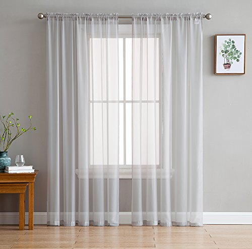 HLC.ME Silver Grey Sheer Voile Window Treatment Rod Pocket Curtain Panels for Bedroom and Small Windows (54 x 63 inches Long, Set of 2)