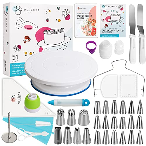 Wenburg Cake Decorating Supplies Kit, 51-Pcs, Cake Decoration Set - Turntable Cake Plate, Piping Bags, Nozzles, Divider, Scraper - Baking Tools - Pastry & Cupcake Making Supplies (Delight)