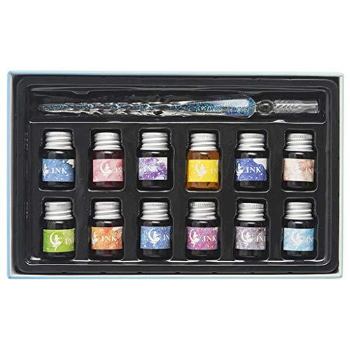 Kristall Sternenhimmel Glas Dip Pen für Kalligraphie schreiben Füllfederhalter Set mit Geschenkbox Halter-#3