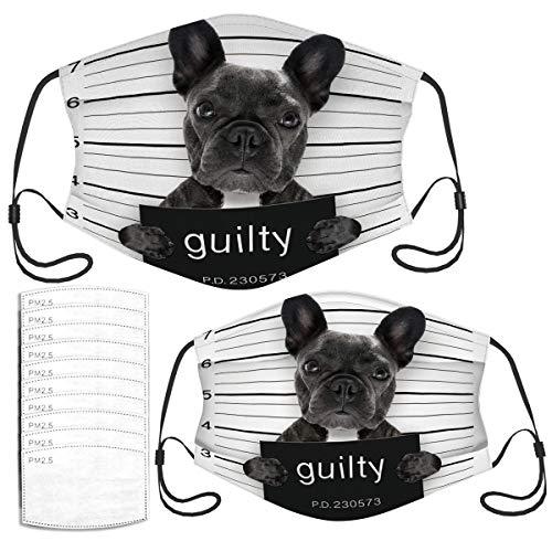 Face Mask Mugshot of French Bulldog Dog at Police Funny Adult Kids Masks Set
